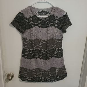Isaac Mizrahi Black&Gray Lace Mini Dress sz XXS
